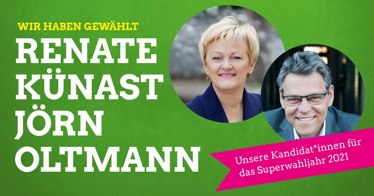 Renate Künast & Jörn Oltmann: Unsere Kandidat*innen für das Superwahljahr 2021