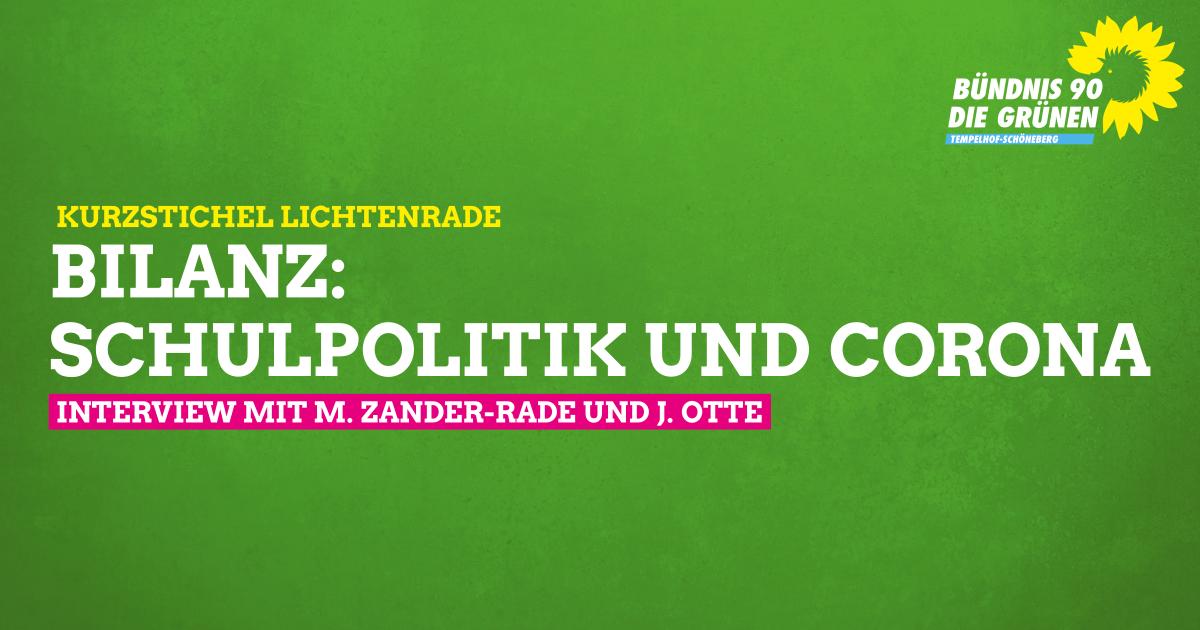 Schulpolitik & Corona – Grün vor Ort Lichtenrade